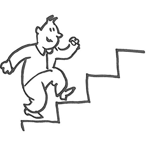 På vej op ad trappe