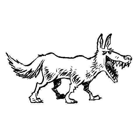Tegning af vred ulv